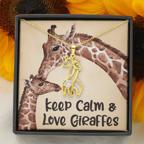 Image of Keep Calm Love Giraffes Necklace Gift Surprise Giraffe Pendant for Daughter, Granddaughter, Wife, Girlfriend