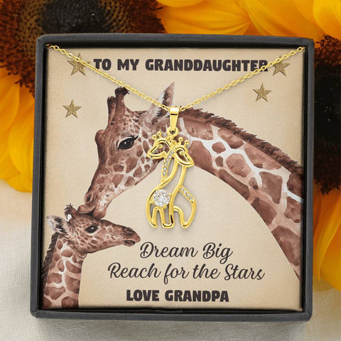Image of To My Granddaughter Giraffe Necklace Gift Dream Big Reach for the Stars Pendant Love Grandpa