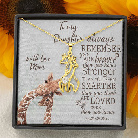 Image of Daughter Giraffe Necklace Gift Always Remember Brave Strong Smart Loved Love Mom Message Card Animal Pendant