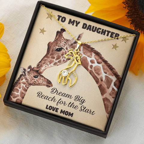 To My Daughter Giraffe Necklace Gift Dream Big Reach for the Stars Pendant Love Mom