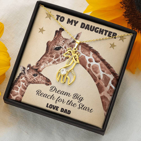 Image of To My Daughter Giraffe Necklace Gift Dream Big Reach for the Stars Pendant Love Dad