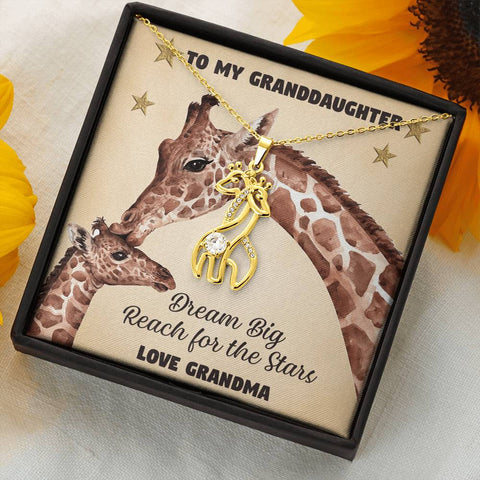 Image of To My Granddaughter Giraffe Necklace Gift Dream Big Reach for the Stars Pendant Love Grandma