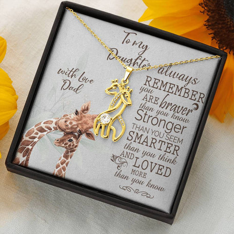 Image of Daughter Giraffe Necklace Gift Always Remember Brave Strong Smart Loved Love Dad Message Card Animal Pendant