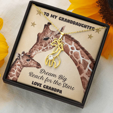 To My Granddaughter Giraffe Necklace Gift Dream Big Reach for the Stars Pendant Love Grandpa