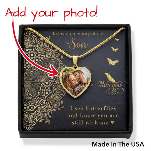 Son Memorial Heart Photo Upload Necklace Gift I see Butterflies Remembrance Message Card