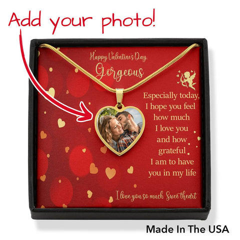 Happy Valentine's Day Gorgeous Heart Necklace I Love You Sweetheart Message Card Keepsake