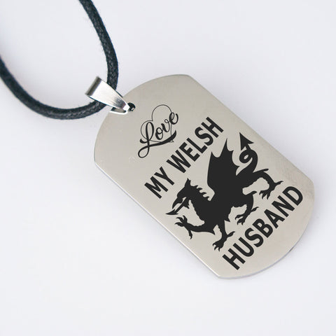 Image of Love My Welsh Husband Pendant Gift for Wife Wales Nationality Novelty Birthday Present for Her