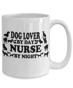 "Nurse Gift, ""Dog Lover by Day, Nurse By Night"" Fun Gift for Nurses That Love Their Dogs"