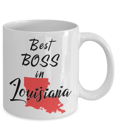 Image of Best Boss in Louisiana State Mug Unique Novelty Birthday Christmas Gifts Ceramic Coffee Cup for Employer Day