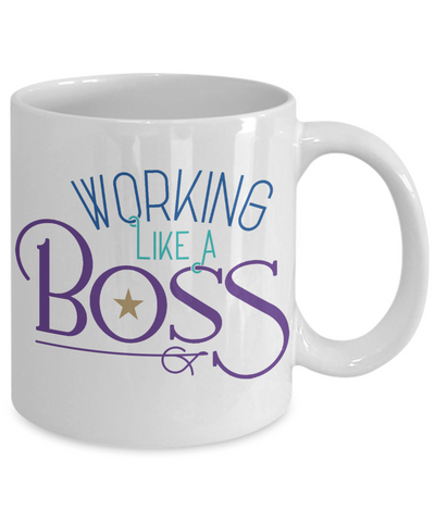 Working Like A Boss Mug Gift Employer Self-Employed Work Coffee Cup