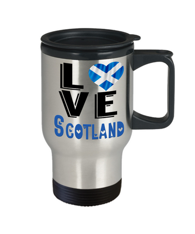 Love Scotland Travel Mug Gift Novelty Scottish Keepsake Coffee Cup