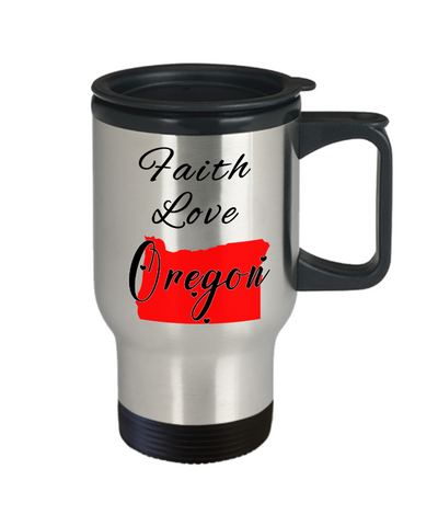 Image of Patriotic USA Gift Travel Mug With Lid Faith Love Oregon Unique Novelty Birthday Christmas Ceramic Coffee Tea Cup