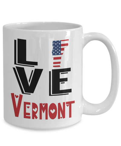 Image of Love Vermont State Mug Gift Novelty American Keepsake Coffee Cup