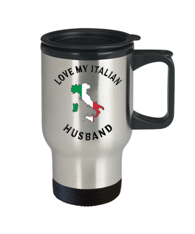 Image of Love My Italian Husband Travel Mug With Lid Novelty Birthday Gift Coffee Cup