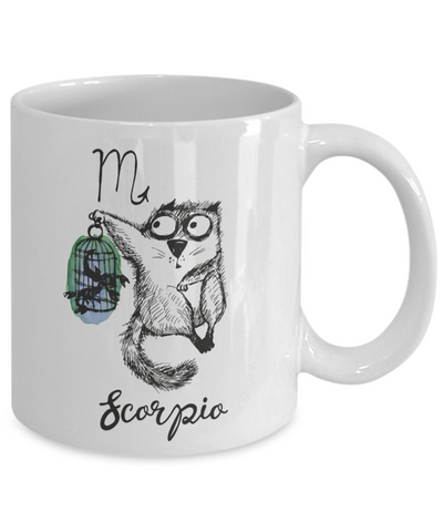 Image of Funny Zodiac Cat Mug Scorpio Cat Mug for Scorpio People - October 23 - November 21 Birthday Mugs