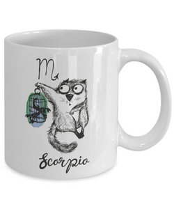 Funny Zodiac Cat Mug Scorpio Cat Mug for Scorpio People - October 23 - November 21 Birthday Mugs