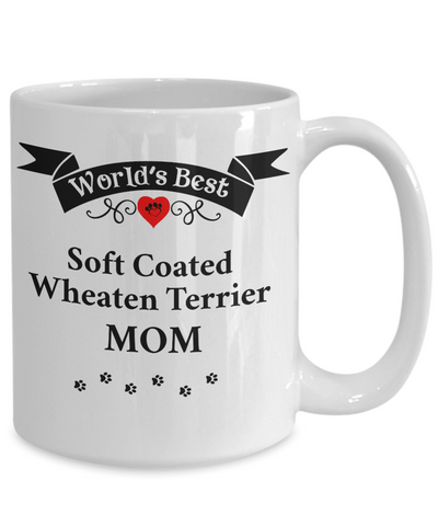 Image of World's Best Soft Coated Wheaten Terrier  Mom Cup Unique Ceramic Dog Coffee Mug Gifts for Women