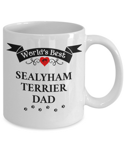 World's Best Sealyham Terrier Dad Cup Unique Dog Ceramic Coffee Mug Gifts for Men