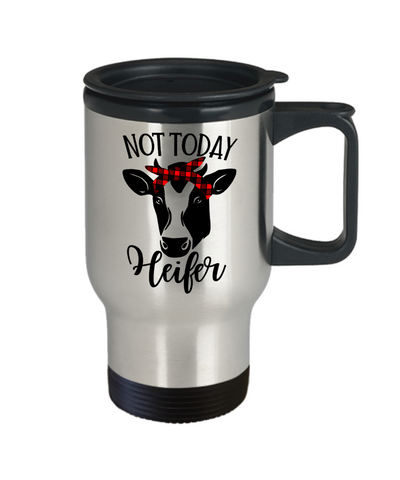 Image of Not Today Heifer Mug With Lid Funny Dairy Farmer Cow Lover Novelty Birthday Christmas Gift Coffee Tea Cup
