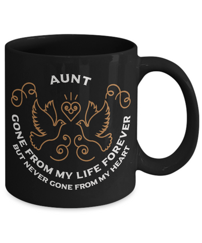 Aunt Memorial Gift Black Mug Gone From My Life Always in My Heart Remembrance Memory Cup