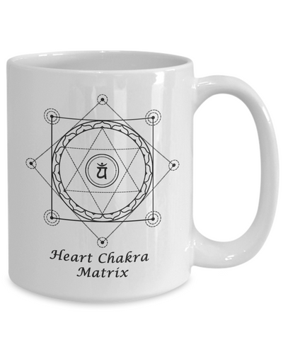 Image of Sacred Geometry Coffee Mug Gifts  Heart Chakra Matrix Grid with Nested Tree of Life Ceramic Cup
