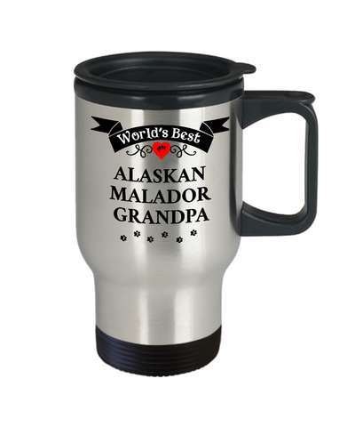 Image of World's Best Alaskan Malador Grandpa Travel Coffee Mug With Lid Gift for Men