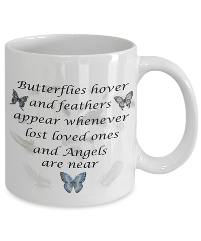 Image of Memorial Gift Mug Butterflies..feathers appear whenever Angels are near Remembrance Mug