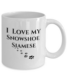 I Love My Snowshoe Siamese Mug Cat Novelty Unique Work Ceramic Coffee Cup Gifts