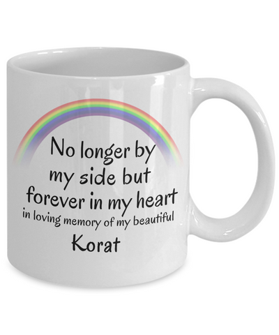 Image of Korat Memorial Gift Cat Mug No Longer By My Side But Forever in My Heart Cup In Memory of Pet Remembrance Gifts