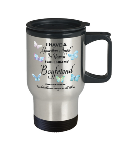 Image of Boyfriend In Memorial Butterfly Gift Butterfly Travel Mug With Lid  I Have a Guardian Angel in Heaven Forever in My Heart I see Butterflies and know you are still with me Loveing Memory Coffee Cup