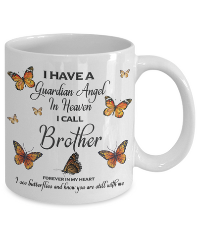 Image of Brother In Loving Memory Mug Guardian Angel in Heaven Monarch Butterfly Gift Memorial Ceramic Coffee Cup