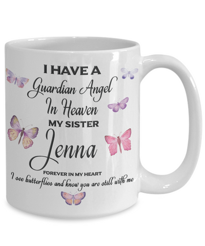 Jenna Guardian Angel Sister Butterfly Coffee Mug Gift Mourning Remembrance Sympathy Cup