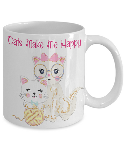 "Gift for Cat Lovers, ""Cats Make Me Happy"" Mom and kitten gift for cat ladies"