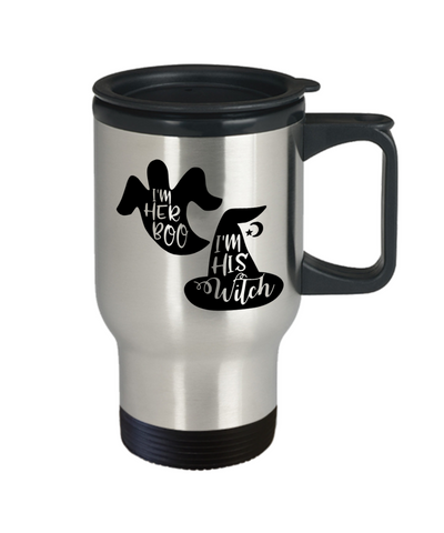 Image of Halloween I'm Her Boo His Witch Travel Mug Funny Gift Spooky Haunted Novelty Cup
