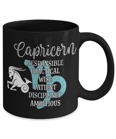 Image of Capricorn Zodiac Black Mug Gift Fun Novelty Birthday Coffee Cup