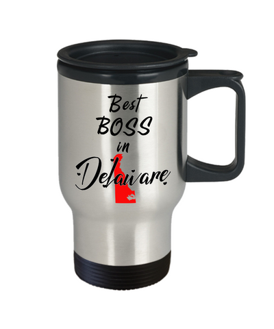 Image of Best Boss in Delaware State Travel Mug With Lid Unique Novelty Birthday Christmas Gifts for Employer Day