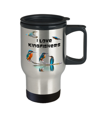 Image of I Love Kingfishers Travel Mug Gift for Bird Lovers Coffee Cup