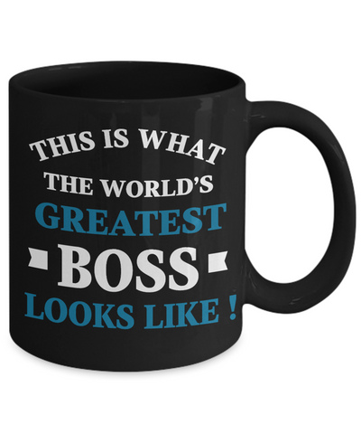 World's Greatest Boss Black Mug Gift Employer's Day Appreciation Coffee Cup