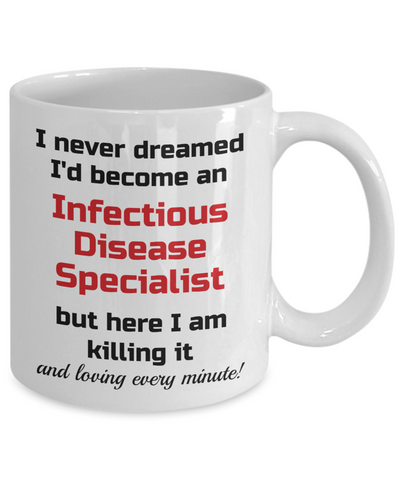 Image of Occupation Mug I Never Dreamed I'd Become an Infectious Disease Specialist Unique Novelty Birthday Christmas Gifts Humor Quote Ceramic Coffee Tea Cup