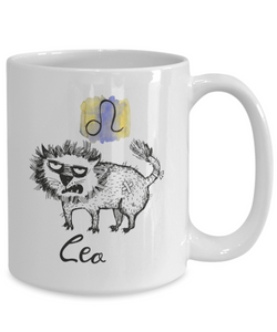 Funny Zodiac Cat Mug Leo Cat Mug for Leo People - July 23 - August 22  Birthday Mugs