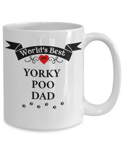 World's Best Yorkie Poo Dad Cup Unique Yorkshire Terrier/Poodle Dog Ceramic Coffee Mug