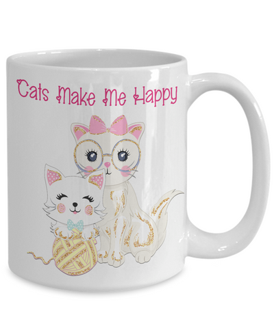 "Image of Gift for Cat Lovers, ""Cats Make Me Happy"" Mom and kitten gift for cat ladies"