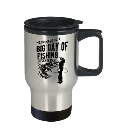 Image of Fishing Gift for Dad Happiness is a Big Day of Fishing Keep Calm and Fish On Fishing Travel Mug Gift