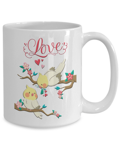 Lovebirds Mug Gift Love You Surprise Her on Valentine's Day Birthday Novelty Cup