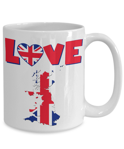 Image of Love United Kingdom Mug Gift for British UK Great Britain Ex-Pats Novelty Birthday Coffee Cup