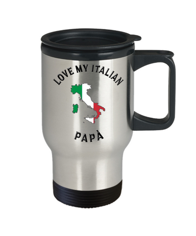 Image of Love My Italian Papà Travel Mug With Lid Novelty Birthday Gift Coffee Cup