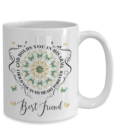 Image of Best Friend In Loving Memory Mug Memorial Turquoise Butterfly Mandala God Holds You in His Arms Mandala Cup