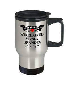 World's Best Wirehaired Vizsla Grandpa Travel Coffee Mug With Lid Gift for Men