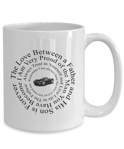 "Image of Gift for Son, ""The Love Between a Father and His Son Is Forever..."" Gift Coffee Mug for Son Love Dad"