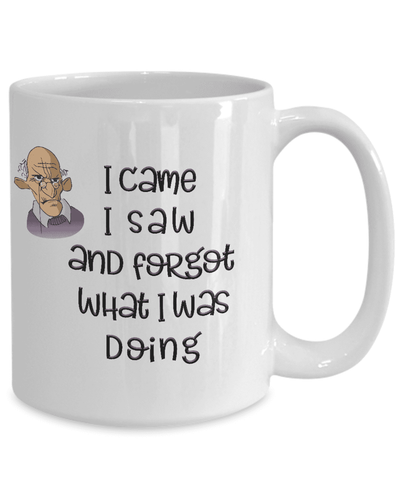 Funny Old Age Mug I Came I Saw I Forgot What I Was Doing Getting Old Coffee Mug Funny Old Man Mug